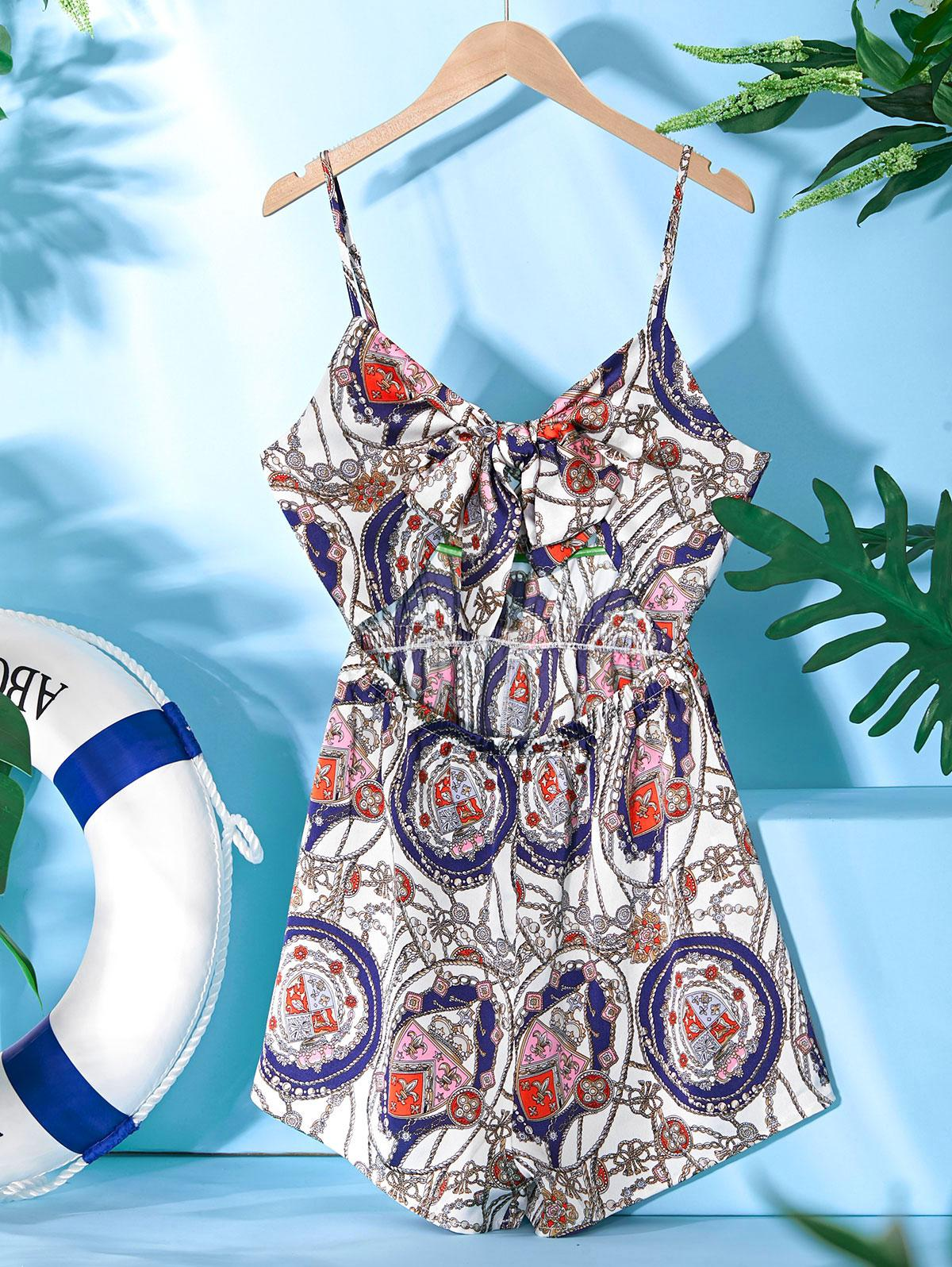 ZAFUL Sailing Rope Anchor Print Knotted Romper