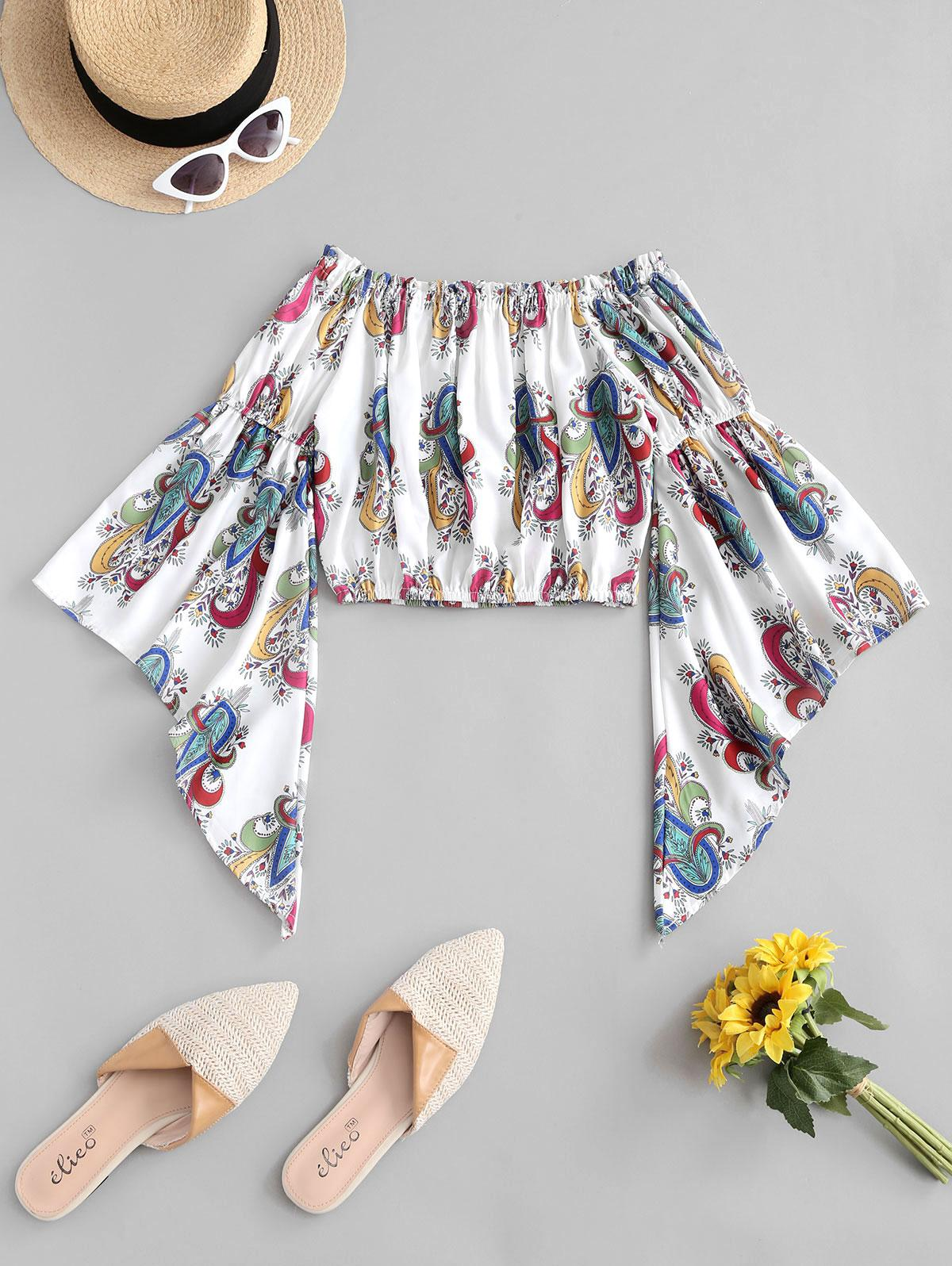 Paisley Print Bell Sleeve Off The Shoulder Top