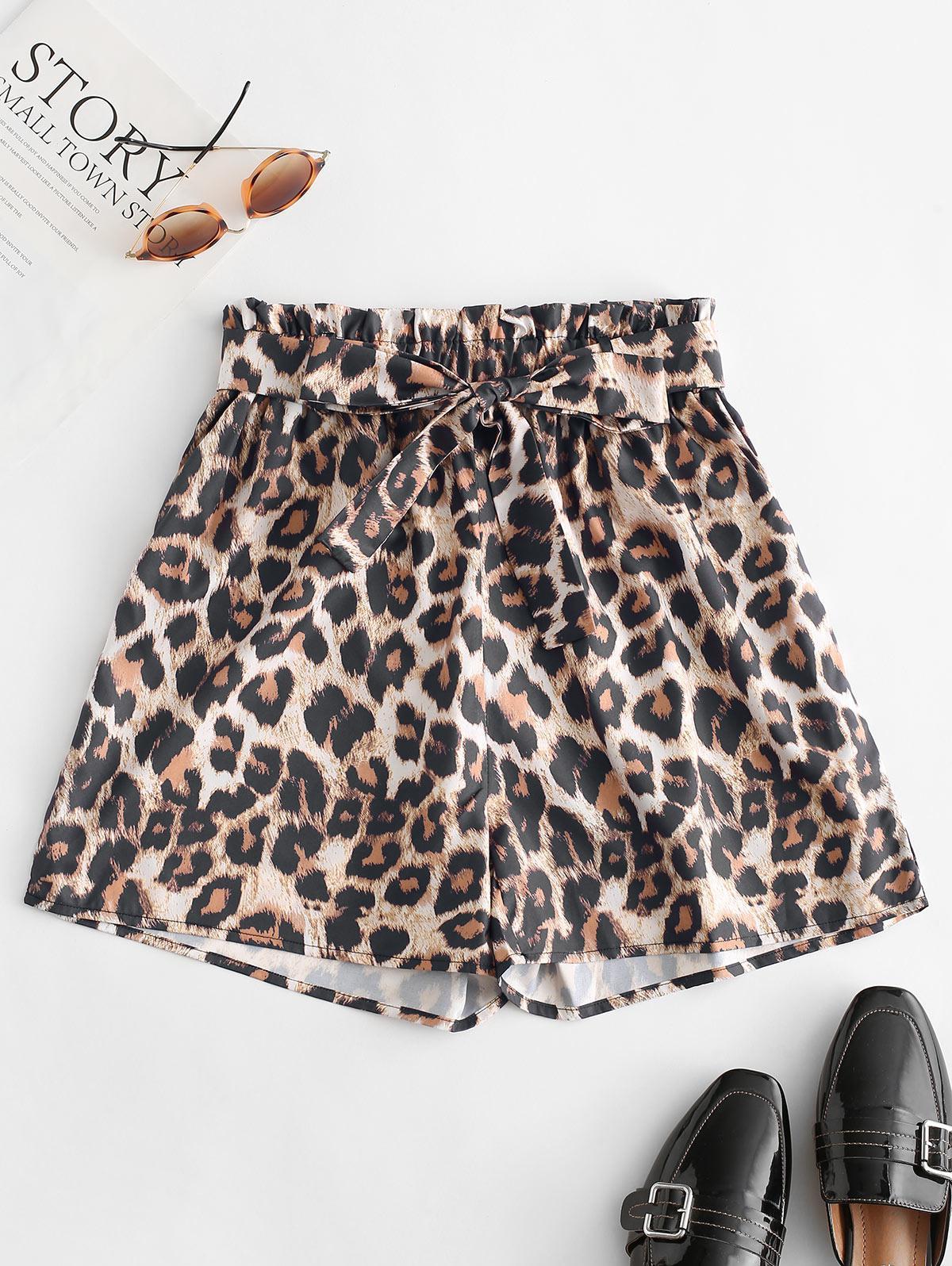 Leopard Print Belted Paperbag Shorts