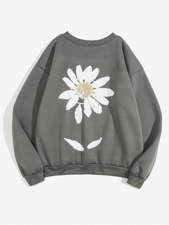 ladies Sunflower Paint Print Fleece Sweatshirt - GRAY 3XL
