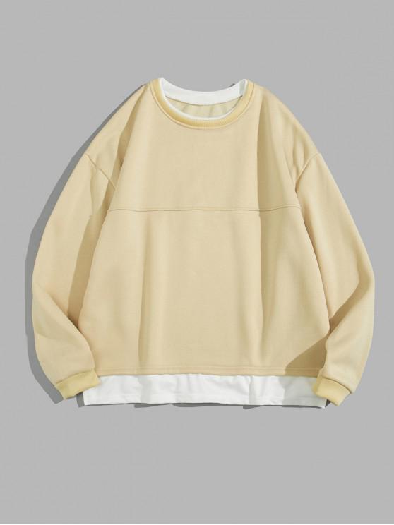 best Colorblock Side Split Fleece Sweatshirt - LIGHT KHAKI L