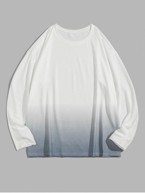 hot Ombre Print Long Sleeve Tee - SEA BLUE M