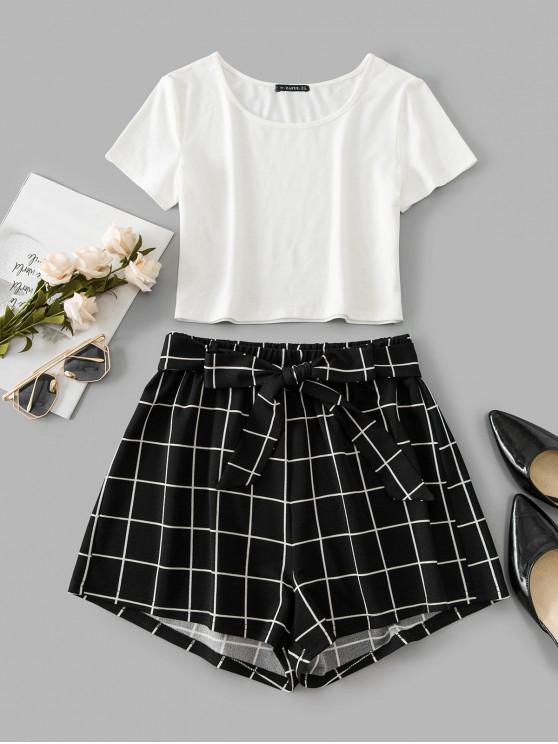 affordable ZAFUL Windowpane Check Crop Belted Shorts Set - BLACK M