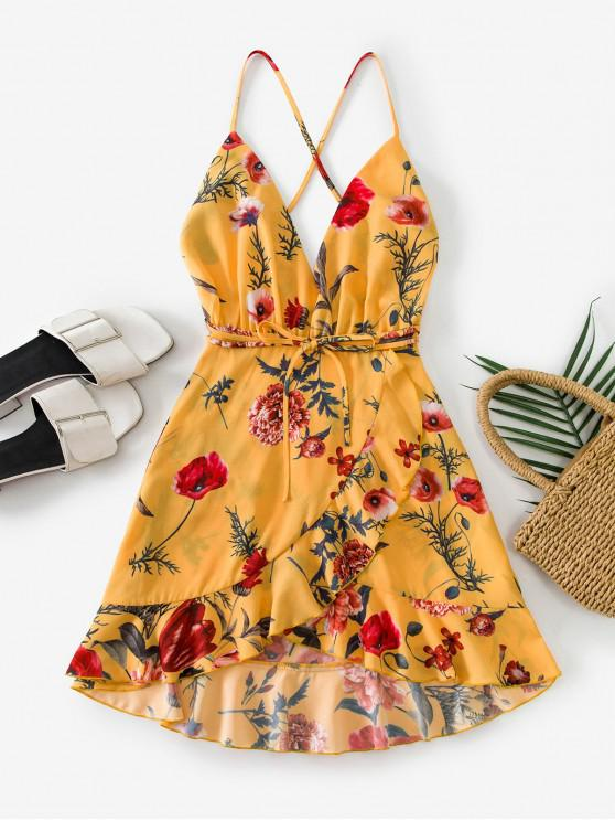 hot ZAFUL Criss Cross Floral Ruffles Mini Dress - YELLOW L
