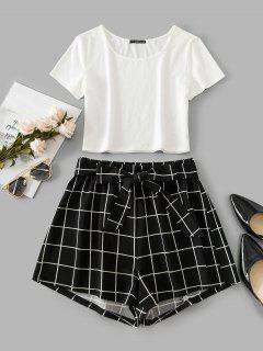ZAFUL Windowpane Check Crop Belted Shorts Set - Black S
