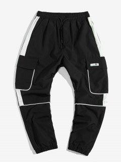 Contrast Trim Applique Casual Cargo Jogger Pants - Black 2xl