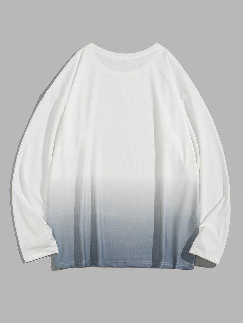 Ombre的打印長袖T卹 - 海藍色 M Mobile