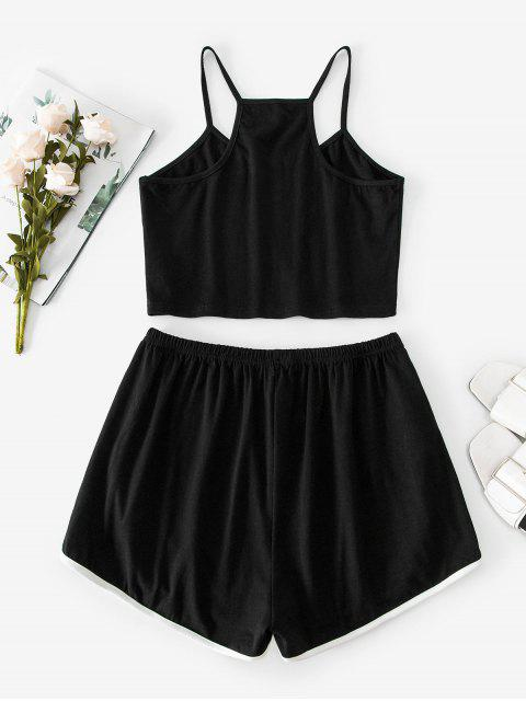 ZAFUL Letter Side Striped Cami Two Piece Suit - أسود S Mobile