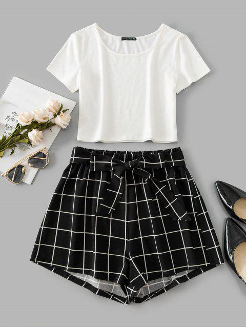 women's ZAFUL Windowpane Check Crop Belted Shorts Set - BLACK L Mobile
