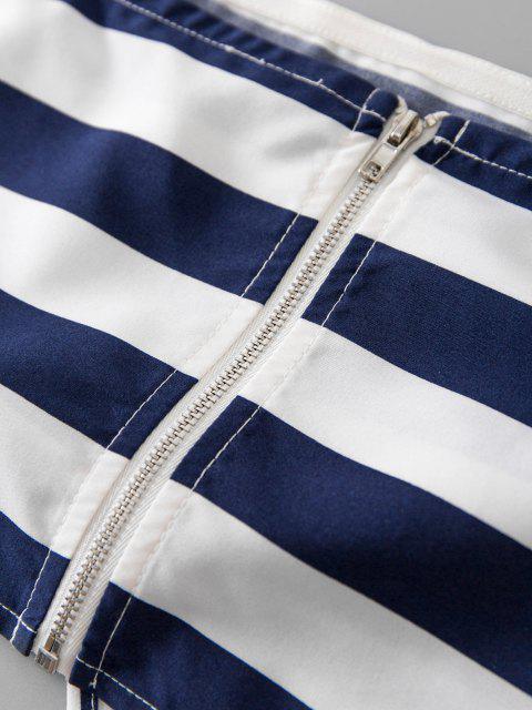 ZAFUL Haut Bandeau Rayé Zip au Dos à Ourlet Noué - Bleu Marine XL Mobile