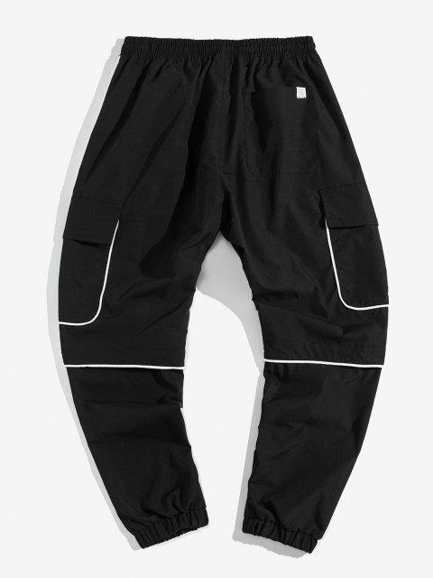 Contraste Ajuste apliques casuales pantalones de carga del basculador - Negro 2XL Mobile