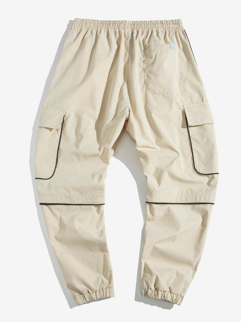 best Contrast Trim Applique Casual Cargo Jogger Pants - KHAKI 2XL Mobile