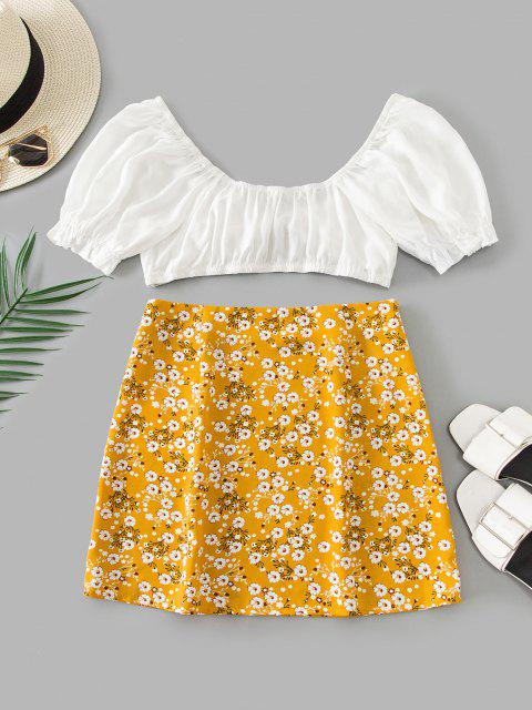 women ZAFUL Tiny Floral Slit Knotted Two Piece Suit - BEE YELLOW S Mobile