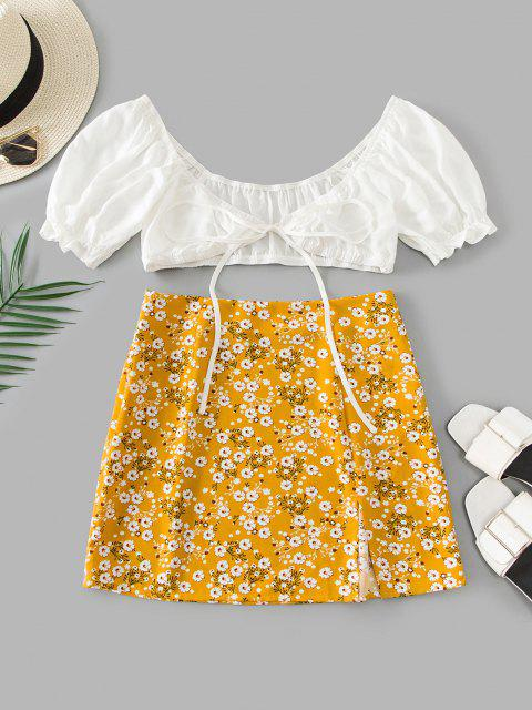 ladies ZAFUL Tiny Floral Slit Knotted Two Piece Suit - BEE YELLOW M Mobile