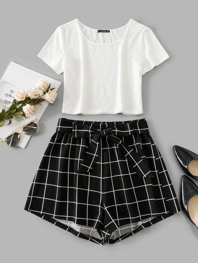 ZAFUL Windowpane Check Crop Belted Shorts Set - Black L