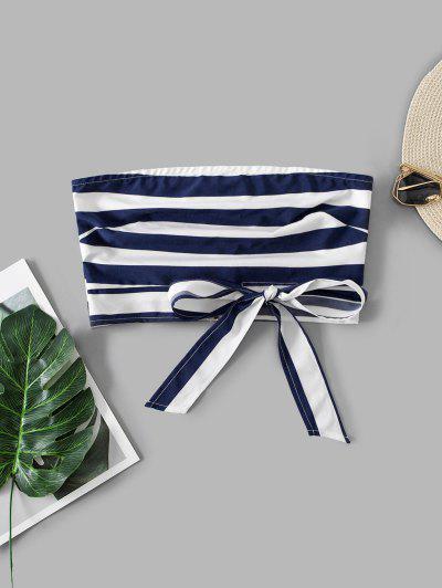 ZAFUL Back Zipper Stripes Tie Hem Bandeau Top - Navy Blue S
