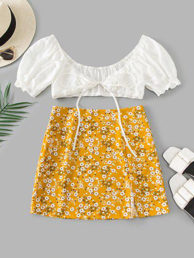 ZAFUL Tiny Floral Slit Knotted Two Piece Suit - Bee Yellow L