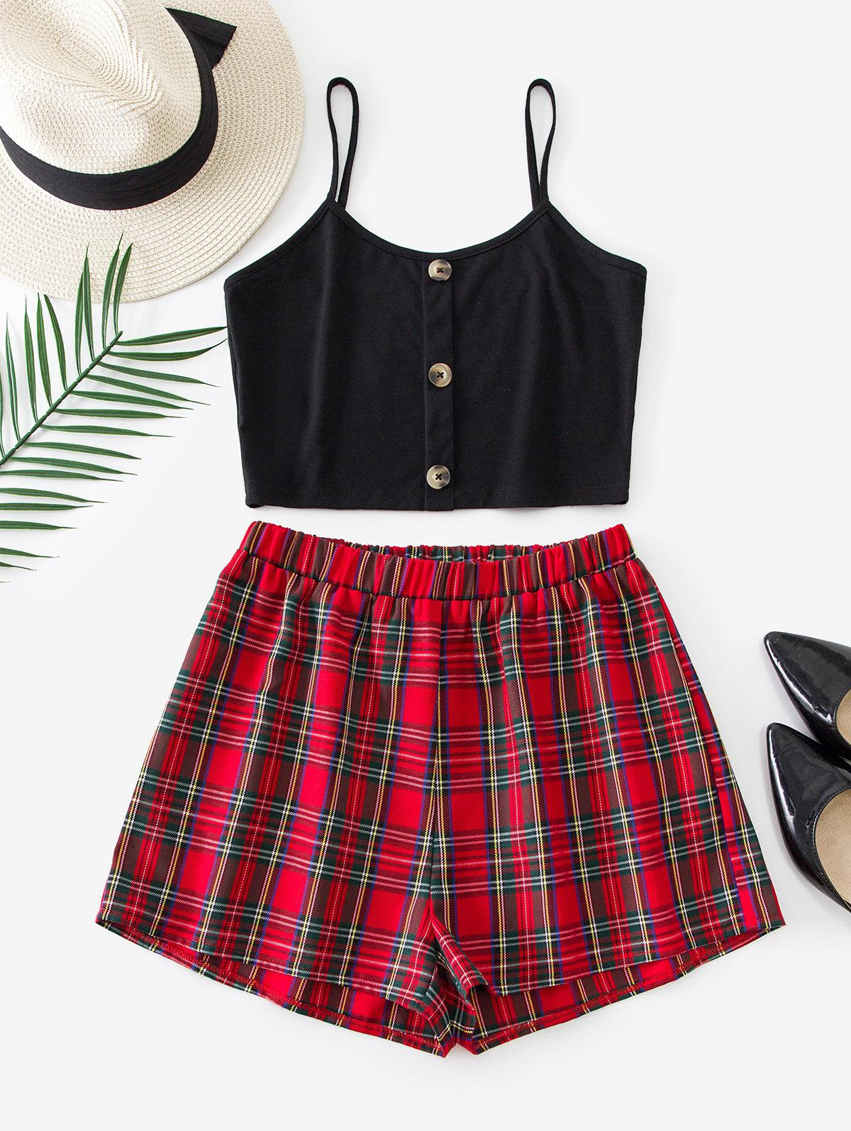 ZAFUL Plaid Buttons Cami Two Piece Suit