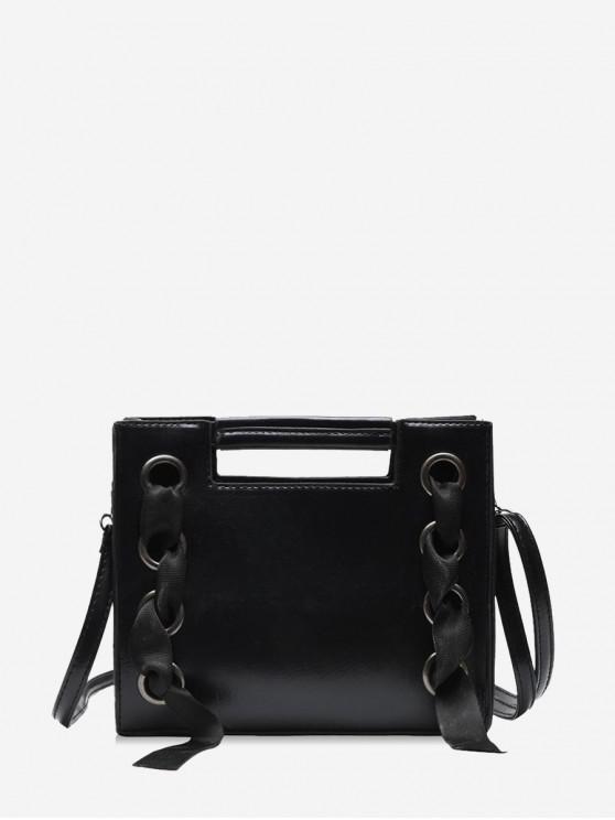 unique Cut Handle Grommet Detail Leather Sling Bag - BLACK