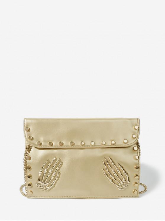 women's Punk Skeleton Hands Chain Crossbody Bag - GOLD