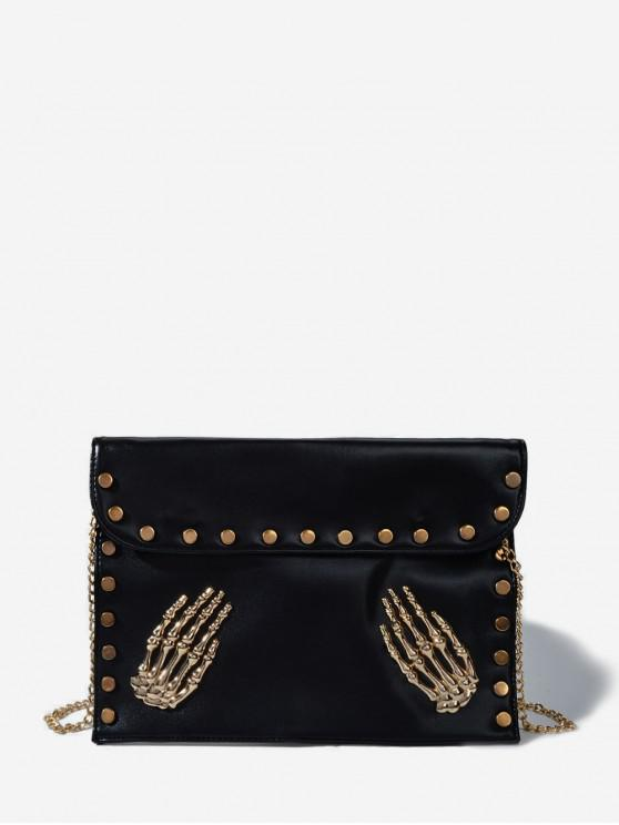 outfit Punk Skeleton Hands Chain Crossbody Bag - BLACK