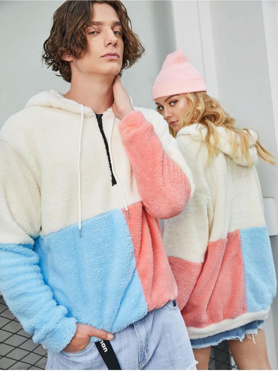 buy ZAFUL Color-blocking Splicing Half Zipper Fuzzy Hoodie - WHITE XL