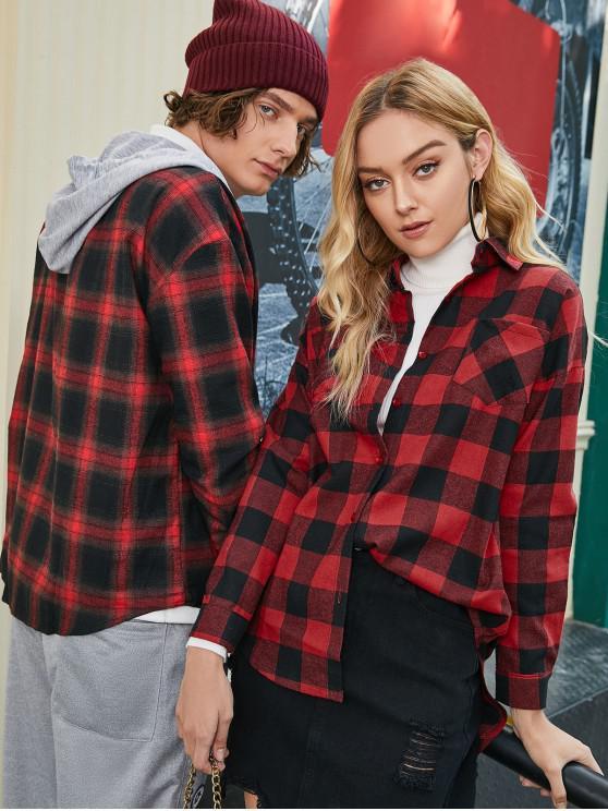 latest Plaid Front Pocket Boyfriend Shirt - RED M