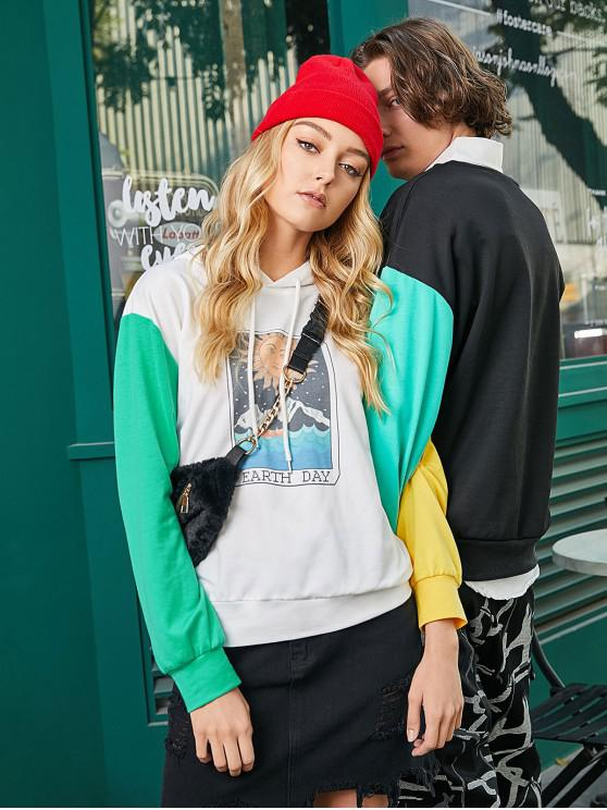 women ZAFUL Color-blocking Earth Day Graphic Pullover Hoodie - MULTI-A XL