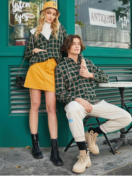 Veste à Capuche Boutonnée à Carreaux avec Poches - Vert profond XL