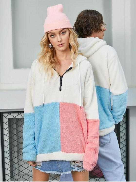 unique ZAFUL Colorblock Half Zip Fluffy Hoodie - MULTI XL