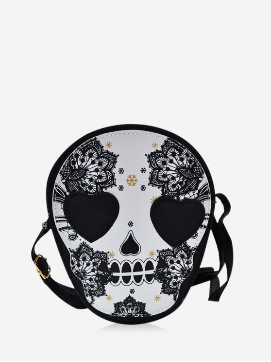 trendy Floral Skull Graphic Leather Mini Crossbody Bag - BLACK