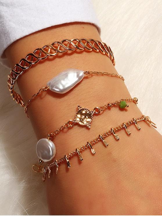 fancy 4Pcs Irregular Faux Pearl Bracelet Set - GOLD
