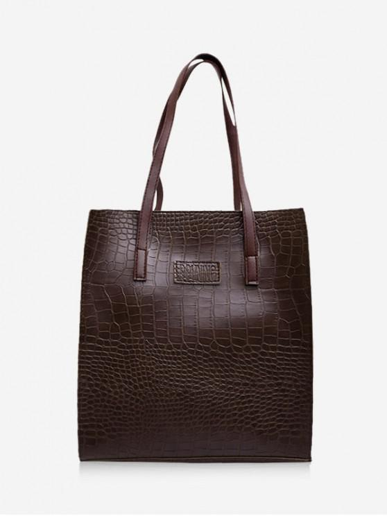 حقيبة بسيطة الحيوان منقوش جلد الكتف - قهوة