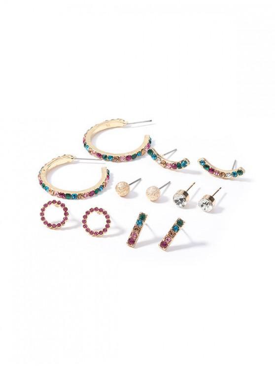 fashion 6Pairs Geometric Rhinestone Stud Earrings Set - MULTI