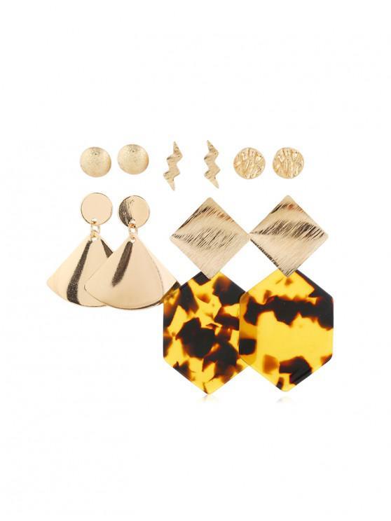 chic 5Pairs Geometric Leopard Earrings Set - GOLD