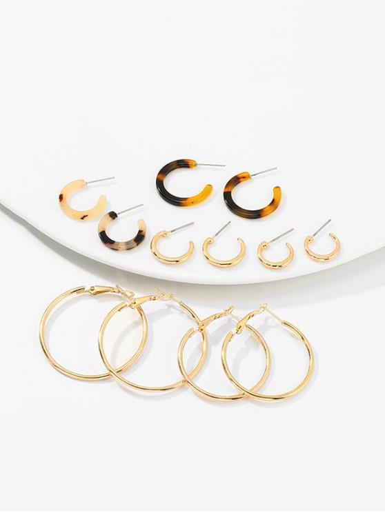 fancy 6Pairs C Shape Leopard Earrings Set - GOLD