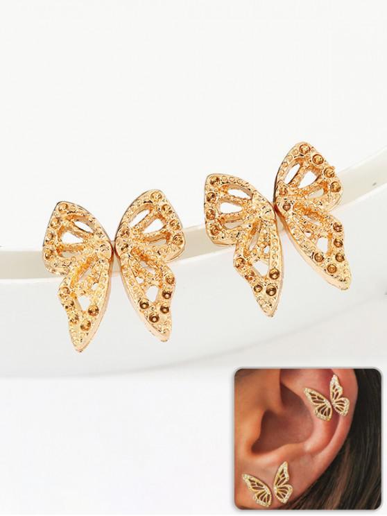 Conjunto de Pendientes de Mariposa de Diamantes de Imitación de Agudos - Oro