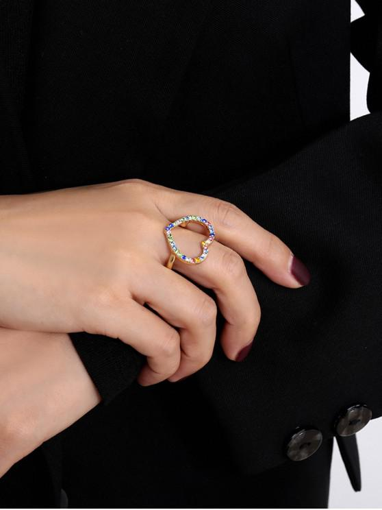 new Colored Rhinestone Hollow Heart Ring - GOLD