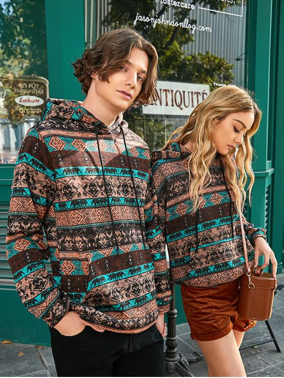 fancy Tribal Print Kangaroo Pocket Hoodie - COFFEE L