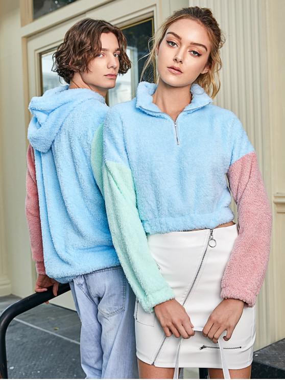 ZAFUL Sweat-shirt Fourré à Demi-Zip en Blocs de Couleurs en Fausse Laine - Multi-A L