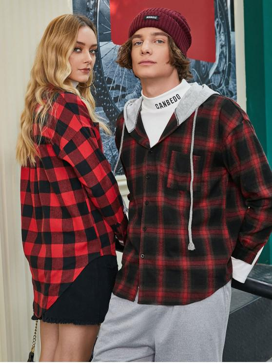 unique Chest Pocket Check Hooded Shirt - RED M