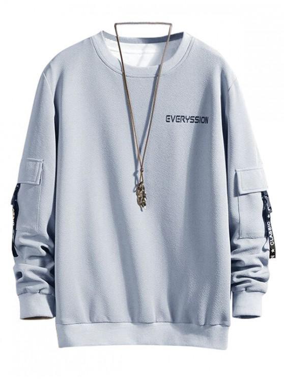 outfits Letter Print Buckle Ribbon Flap Pocket Sweatshirt - GRAY CLOUD L