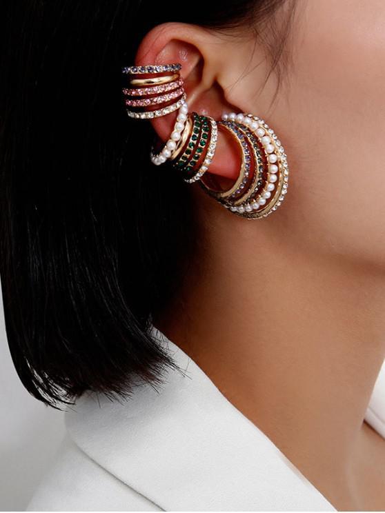 chic 14 Piece Rhinestone Faux Pearl Ear Cuff Earring Set - GOLD