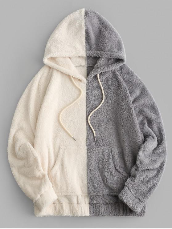 women Colorblock Front Pocket Fluffy Drawstring Hoodie - MULTI-B XL