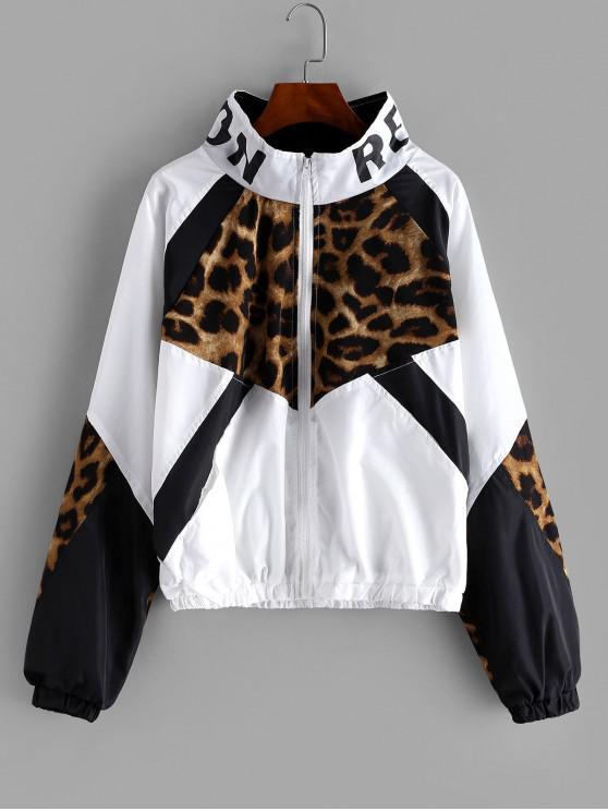 women Zip Front Snake Leopard Colorblock Windbreaker Jacket - LEOPARD XL