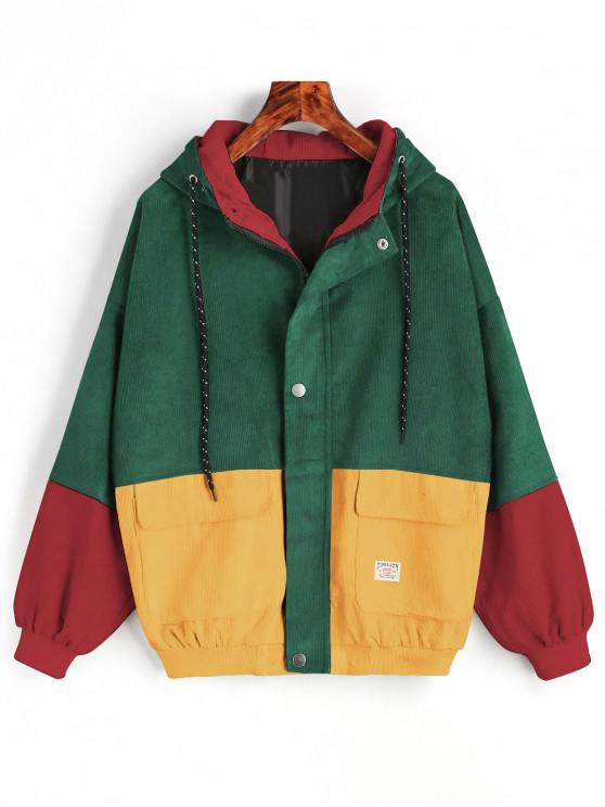 latest Hooded Color Block Corduroy Jacket - GREEN XL