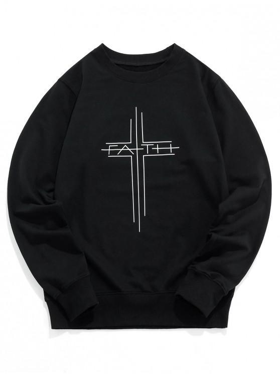 sale Graphic Print Crew Neck Sweatshirt - BLACK M