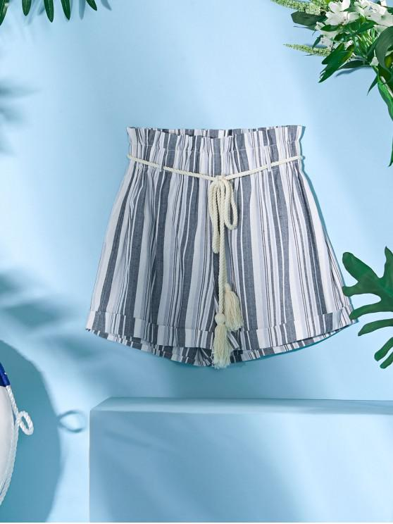 outfit ZAFUL Rope Belt Striped Paperbag Shorts - MIST BLUE S