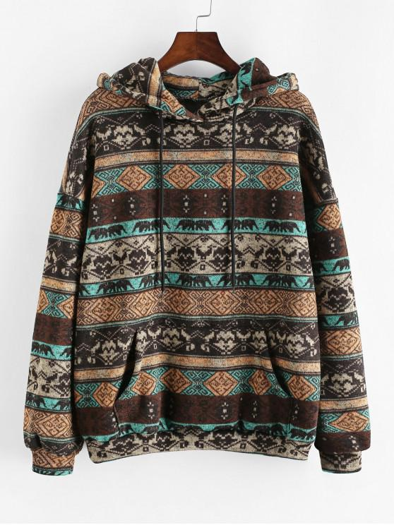 sale Drawstring Front Pocket Tribal Print Hoodie - DARK GOLDENROD M