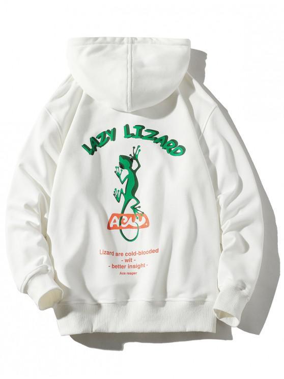 shops Lazy Lizard Letter Print Pouch Pocket Hoodie - WHITE L